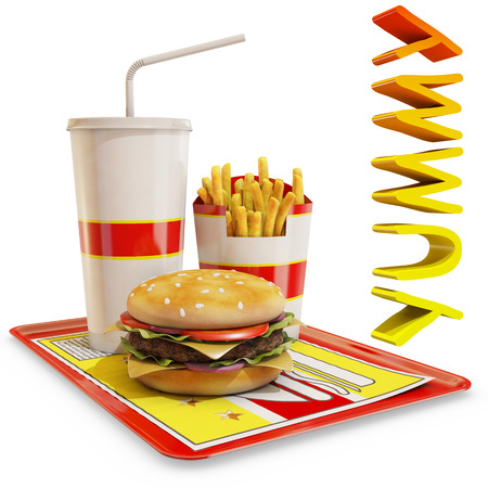 text 3d: fast food meal isolated with yummy text, 3d rendering