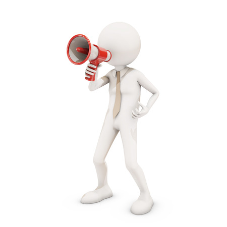 directive: 3d character shouting in megaphone , 3d rendering Stock Photo
