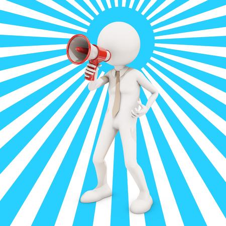 directive: 3d character shouting in megaphone , 3d rendering Stock Photo