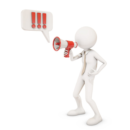 directive: 3d character shouting in megaphone, 3d rendering