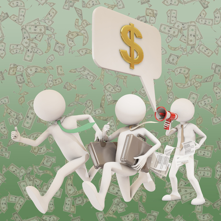 businness: businness man giving orders with megaphone, 3d rendering