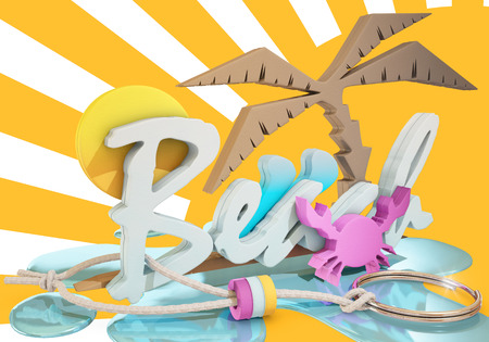 keyring: beach keyring over graphic background, 3d rendering Stock Photo