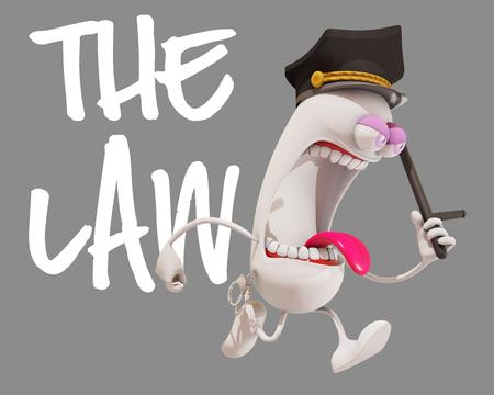 patrolman: 3d cartoon character runnig, 3d rendering