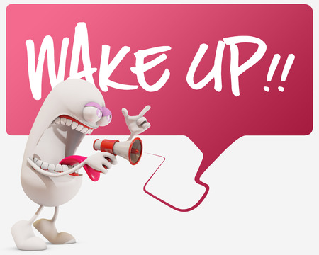 protest man: 3d cartoon character screaming wake up, 3d rendering