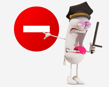 patrolman: 3d cartoon policeman showing sign, 3d rendering