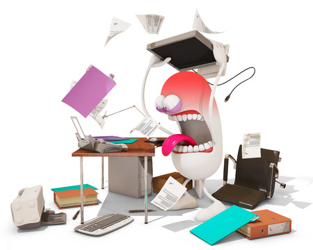 nervous breakdown at work, 3d rendering Stock Photo