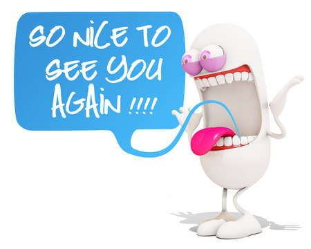 happy 3d: happy 3d cartoon character saying so nice to see you again!, 3d rendering Stock Photo