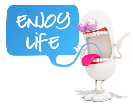 enjoy life: happy 3d cartoon character saying enjoy life!, 3d rendering Stock Photo