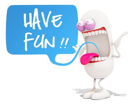 happy 3d: happy 3d cartoon character saying have fun!, 3d rendering