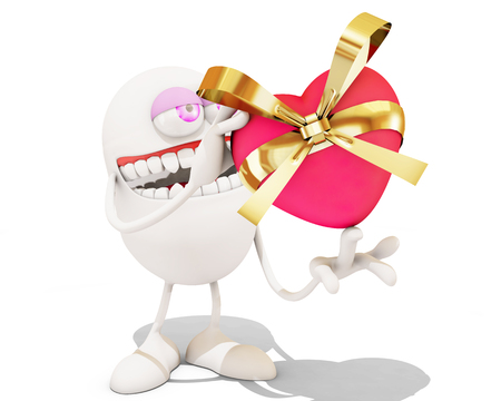 3d cartoon giving a present, 3d rendering Stock Photo