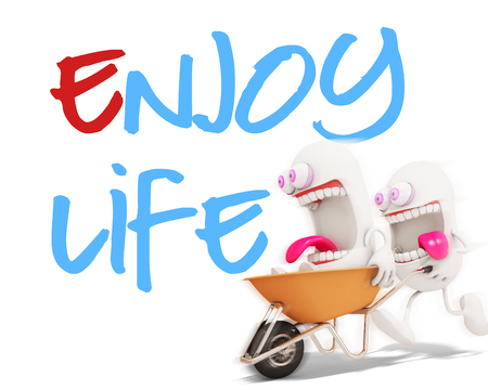 enjoy life: 3d cartoon character playing with enjoy life message, 3d rendering