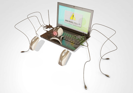 control fraud: malware found, 3d rendering