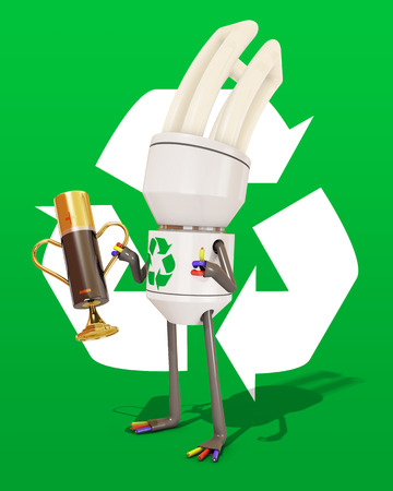 positive energy: 3d character with recycling trophy in shape of a battery, 3d rendering