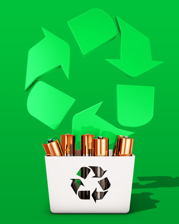 recycling: Battery recycling, 3d rendering