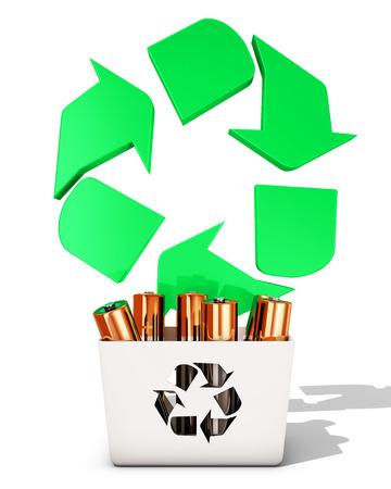 rendering: Battery recycling, 3d rendering