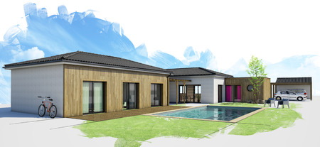 modern house with pool, exterior view, 3d rendering