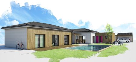 Modernes Haus mit Pool, Außenansicht, 3D-Rendering