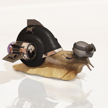 rendering: cybernetic snail, 3d rendering Stock Photo