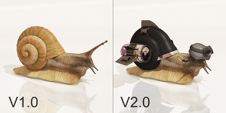snail V1.0 and snail V2.0, 3d rendering