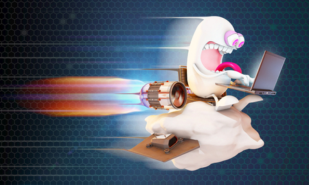 high speed: cartoon character surfing the net at high speed on a cloud, 3d rendering