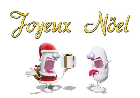 cartoon Santa Claus offer a present, 3d rendering