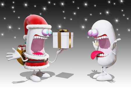 happyness: cartoon Santa Claus offer a present, 3d rendering