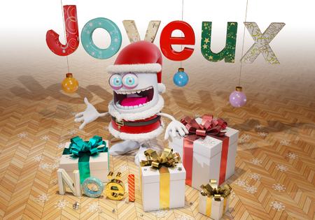 joyeux: Merry Christmas, 3d rendering
