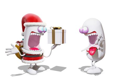 joyeux: cartoon Santa Claus offer a present, 3d rendering