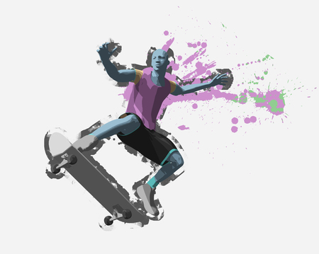 Skater, 3d rendering Stock Photo