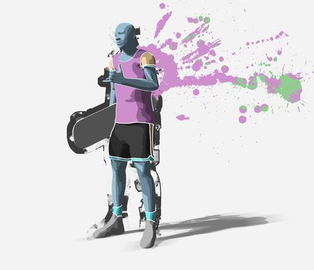 Skater, 3d rendering Stock Photo