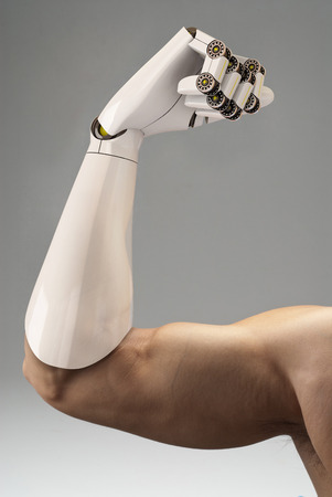 man with prosthetic arm, 3d rendering Stock Photo