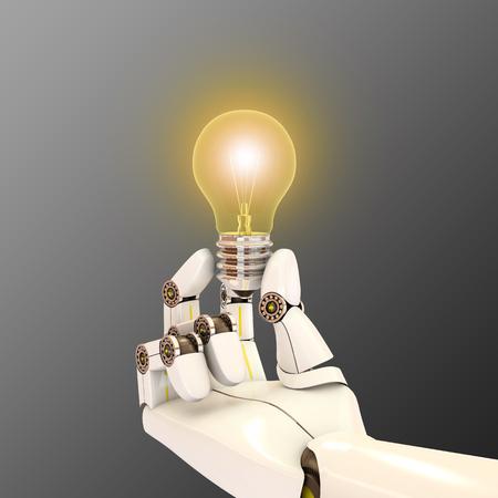 robot hand holding a light bulb, 3d rendering