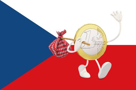 czech republic coin: Euro coin leaving Czech republic, 3d rendering