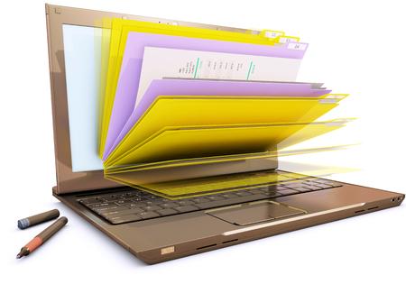 Bestand in de database - laptop met mappen, 3D-rendering Stockfoto - 75228750