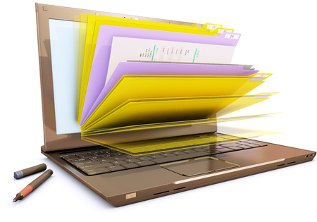 file in database - laptop with folders, 3d rendering
