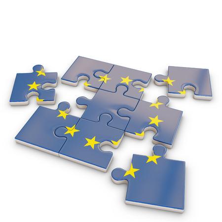 ヨーロッパ パズル フラグ、3 d レンダリング