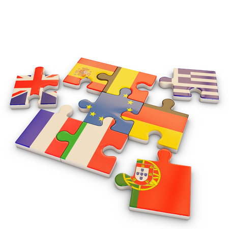 Europe country puzzle flag, 3d rendering