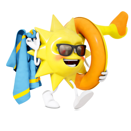 goes: 3D sun character goes to the beach, 3d rendering Stock Photo