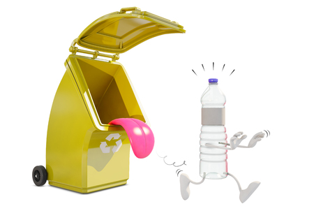 Recycling container for plastic eats plastic bottle character, 3d rendering