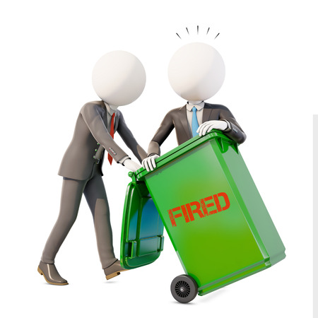 fired businessman in dumpster, 3d rendering