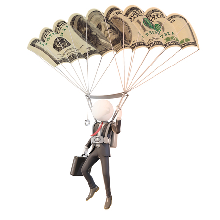 skydiving businessman with banknote parachute, 3d rendering Stock fotó