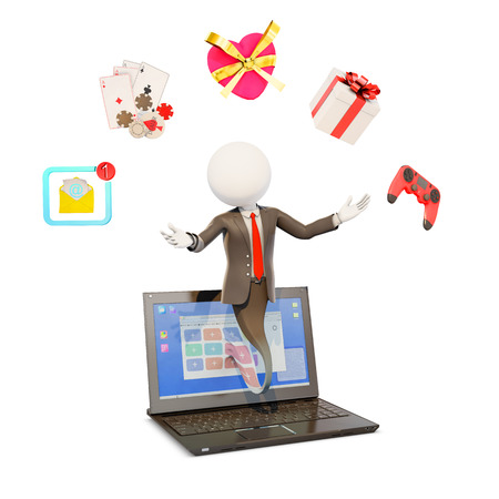 businessman popping out from a laptop screen showing internet activities, 3d rendering Stock Photo