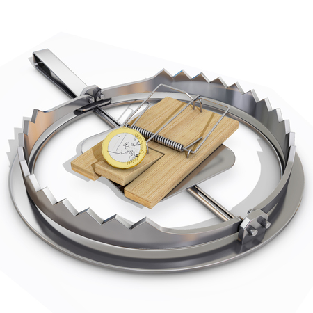 bear trap: bear trap and mousetrap with euro coin, 3d rendering Stock Photo