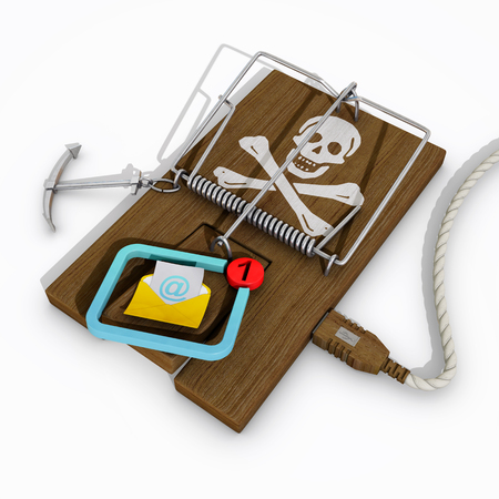 mousetrap with dangerous email, 3d rendering