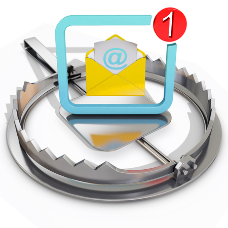 bear trap: bear trap with dangerous email, 3d rendering