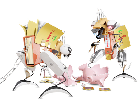 tax monsters eating a piggy bank, 3D rendering Stock Photo
