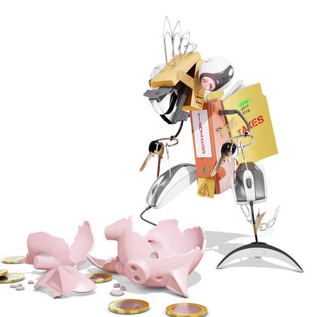 brocken: tax monsters eating a piggy bank, 3D rendering Stock Photo