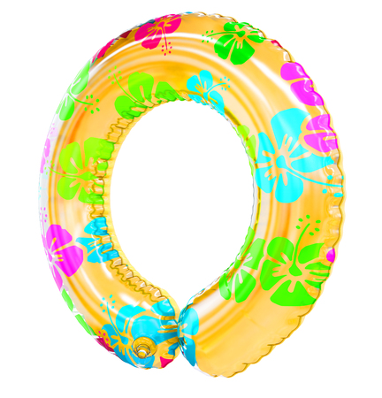 O letter shaped inflatable swim ring, 3d rendering