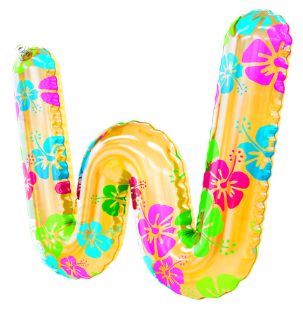 W letter shaped inflatable swim ring, 3d rendering Stock Photo