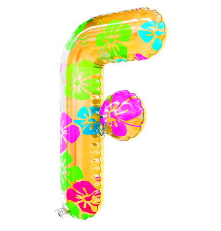 F letter shaped inflatable swim ring, 3d rendering